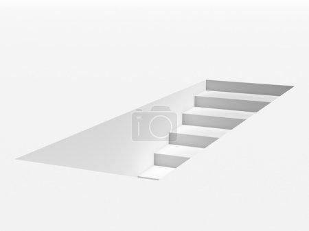 Photo pour Escalier blanc isolé sur fond blanc. 3d rendu - image libre de droit