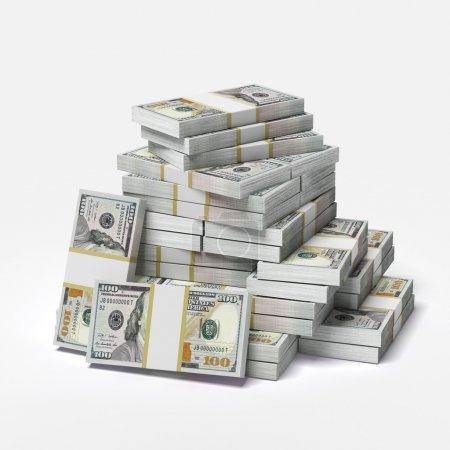 Photo pour Un gros tas de dollars isolé sur un fond blanc. 3d rendu - image libre de droit