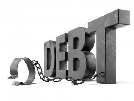 Photo for Debt text with shackles isolated on a white background. 3d render - Royalty Free Image