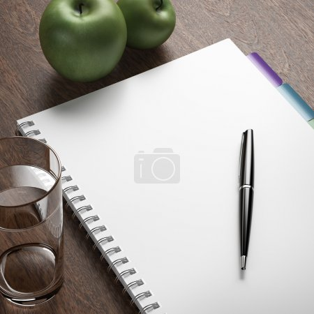 Photo for Diet plan with pen and apples. 3d render - Royalty Free Image