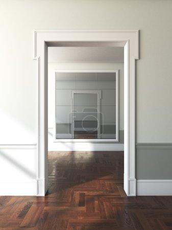Doorway to empty room with mirror