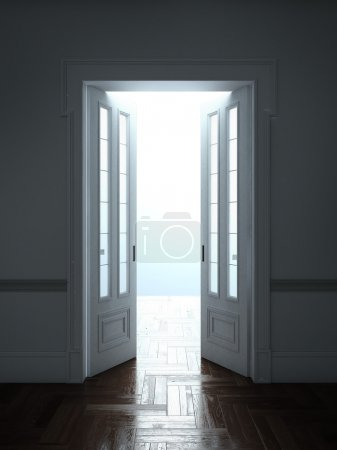 Opened Doors With Bright Light