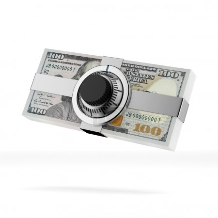 Dollars banknotes with lock