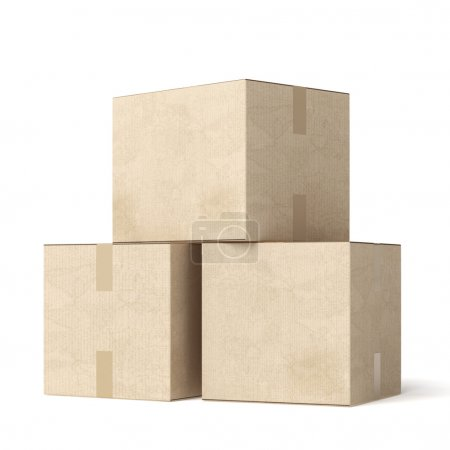 Stack of cardboard moving boxes  isolated on a whi...