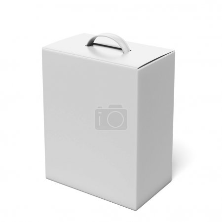 Photo for White package with a handle isolated on a white background. 3d render - Royalty Free Image