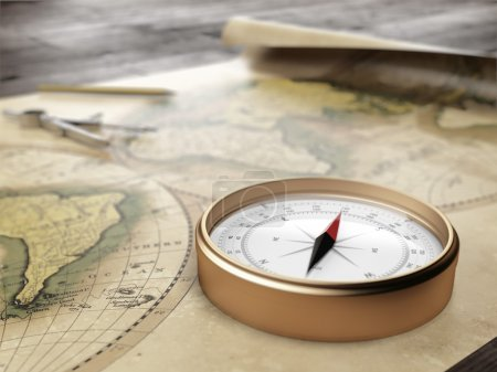 Vintage compass on an ancient world map