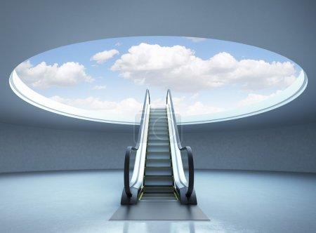 Photo pour Escalier escalier mécanique de la réussite. ciel bleu. rendu 3D - image libre de droit