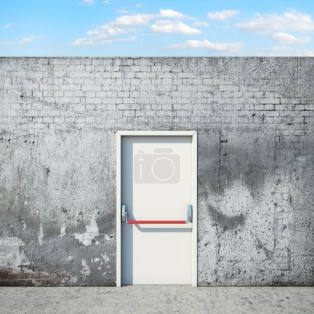 Photo for Door and wall in front of sky . 3d render - Royalty Free Image