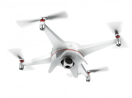 Photo for White quadrocopter isolated on a white background. 3d render - Royalty Free Image