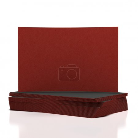 Stack of red blank business cards