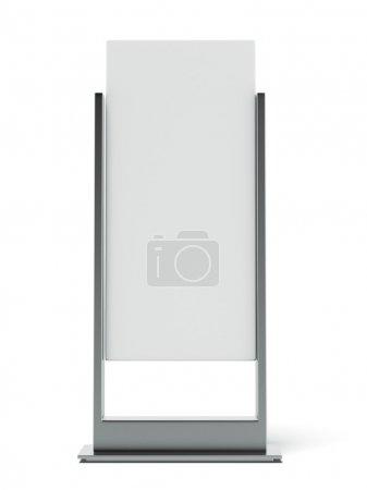 Photo pour Support publicitaire en métal isolé sur fond blanc. 3d rendu - image libre de droit
