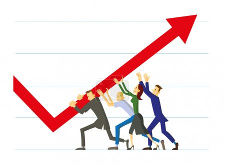 Illustration for Work team collaborating to improve results. - Royalty Free Image