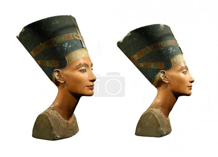 Famous bust of Queen Nefertiti isolated on white...