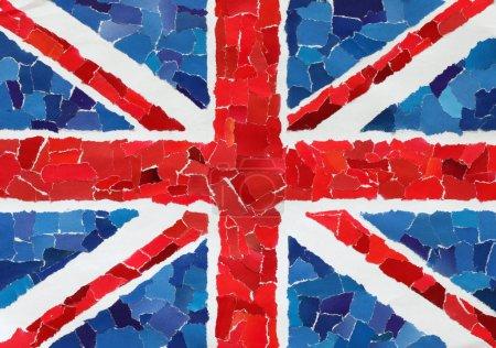 Photo pour Drapeau national britannique de nombreux morceaux de papier déchiré - image libre de droit