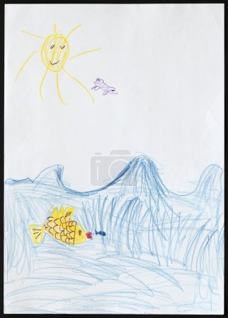 Photo pour Original child's drawing of a yellow fish follows a blue fish in a blue sea drawn by a five-year-old girl. - image libre de droit