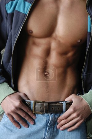 Photo for Muscular male torso in an unzipped jacket. - Royalty Free Image