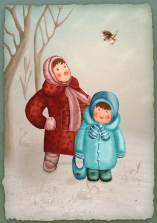 Little children in winter forest