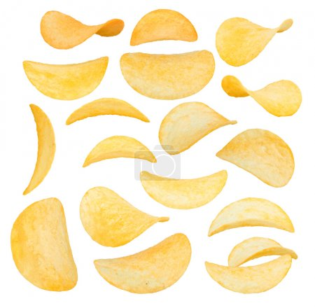Potato chips close-up isolated on a white backgrou...