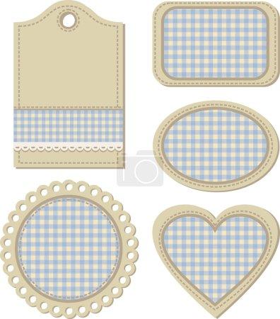 tags, vintage design elemente für scrapbook illustration