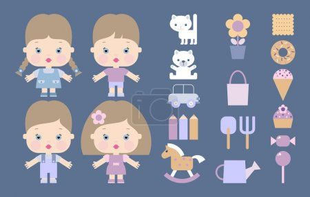 Icons with children, toys, sweets and garden tools
