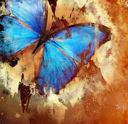 Photo pour Arrière-plan en style grunge avec papillon - image libre de droit
