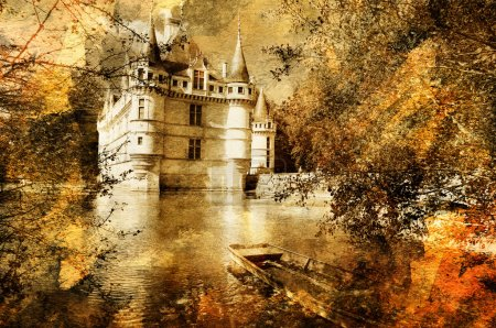 Azey-le-redeau castle - artwork in painting style