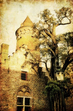Medieval tower -picture in retro style