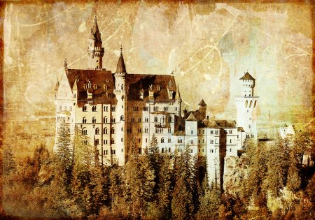Photo for Neuschwanstein castle - picture in retro style - Royalty Free Image
