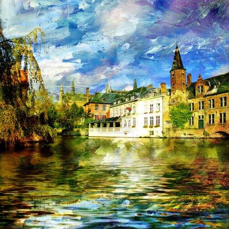 Foto de Viejo canal de Bélgica - cuadro en pintura estilo - Imagen libre de derechos