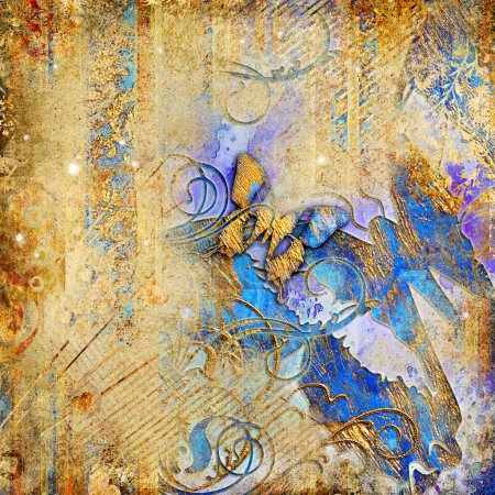 Artistic vintage background with butterflies