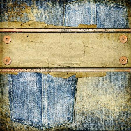 Photo pour Fond jeans vintage avec place pour le texte - image libre de droit