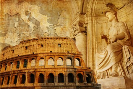 Photo pour Rome antique - collage conceptuel dans un style rétro - image libre de droit