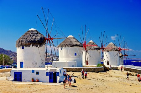 Windmills of sunny Mykonos (Greece, Cyclades)