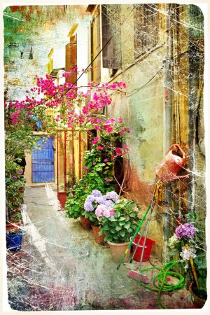 Photo for Pictorial courtyards of Greece- artwork in retro painting style - Royalty Free Image