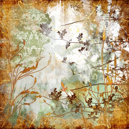 Photo for Autumn background in golden colors in grunge style - Royalty Free Image