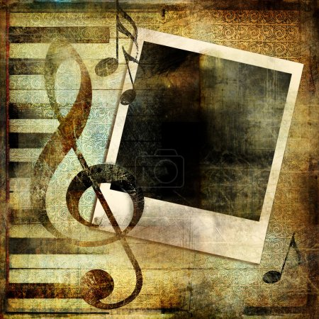 Grungy musical background with instant photo frame