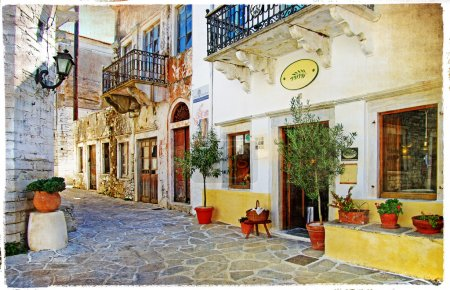 Old pictorial streets of Greece - retro picture