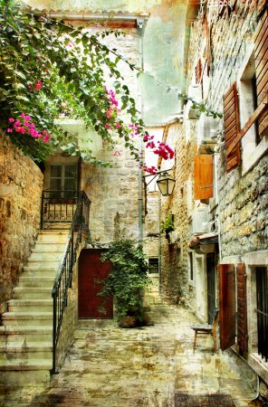 Photo for Courtyard of old Croatia - picture in painting style - Royalty Free Image