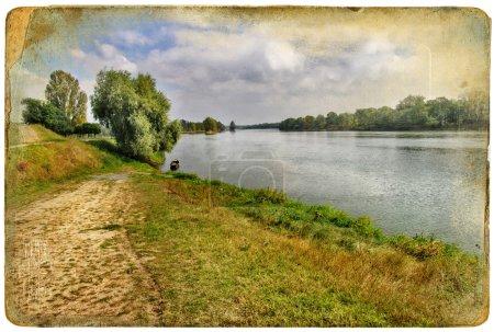 Vintage postcard- peaceful lake