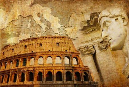 Photo pour Grand empire romain - collage conceptuel dans un style rétro - image libre de droit