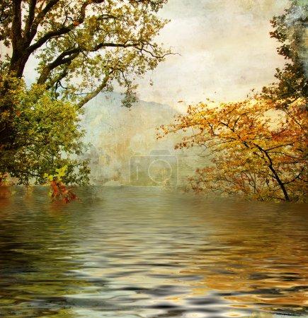 Golden lake - artistic picture