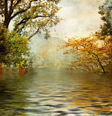 Golden lake - artistic picture