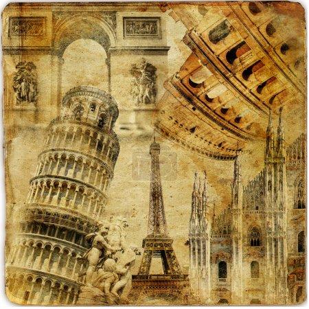 Photo pour Fond de voyage - œuvre d'art dans un style rétro - image libre de droit
