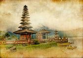 Balinéskou chrámu - kresby v retro stylu