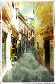 Benátská ulice - kresby v pianting stylu