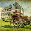 Old french castle with carriage - artistic vintage...