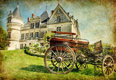 Old french castle with carriage - artistic vintage picture