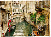 Beautiful channels of Venice- retro styled picture
