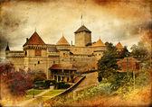 Chillion castle - artistic picture in retro style