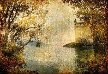 Swiss castle beside autumn lake- artistic vintage picture